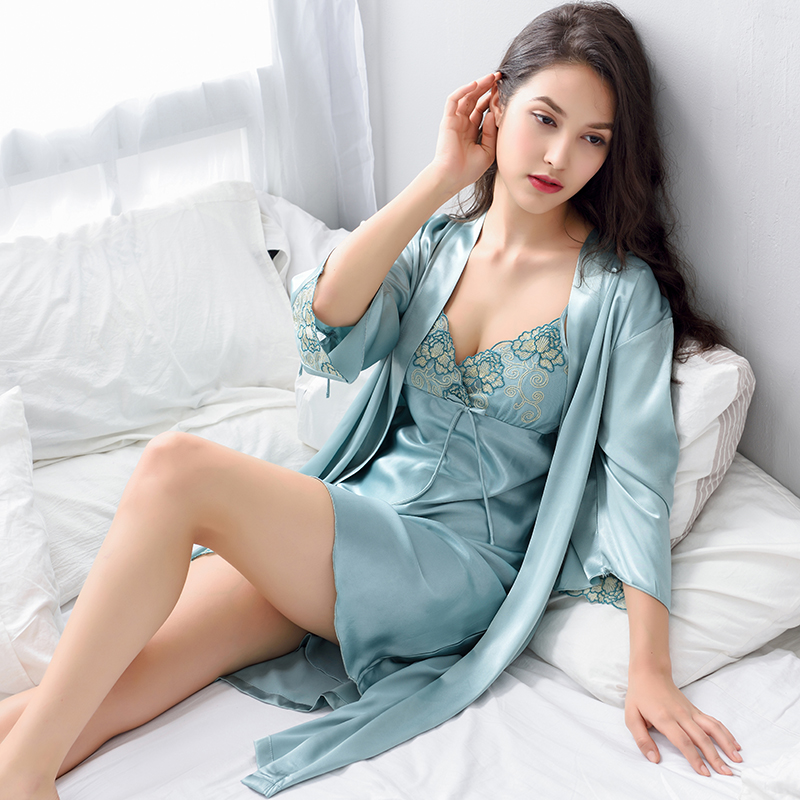 Xifenni Robe Sets Female Satin Silk Sleepwear Women Sexy Lace Embroidery Bathrobes Set Fashion Elegant Home Clothing 2024
