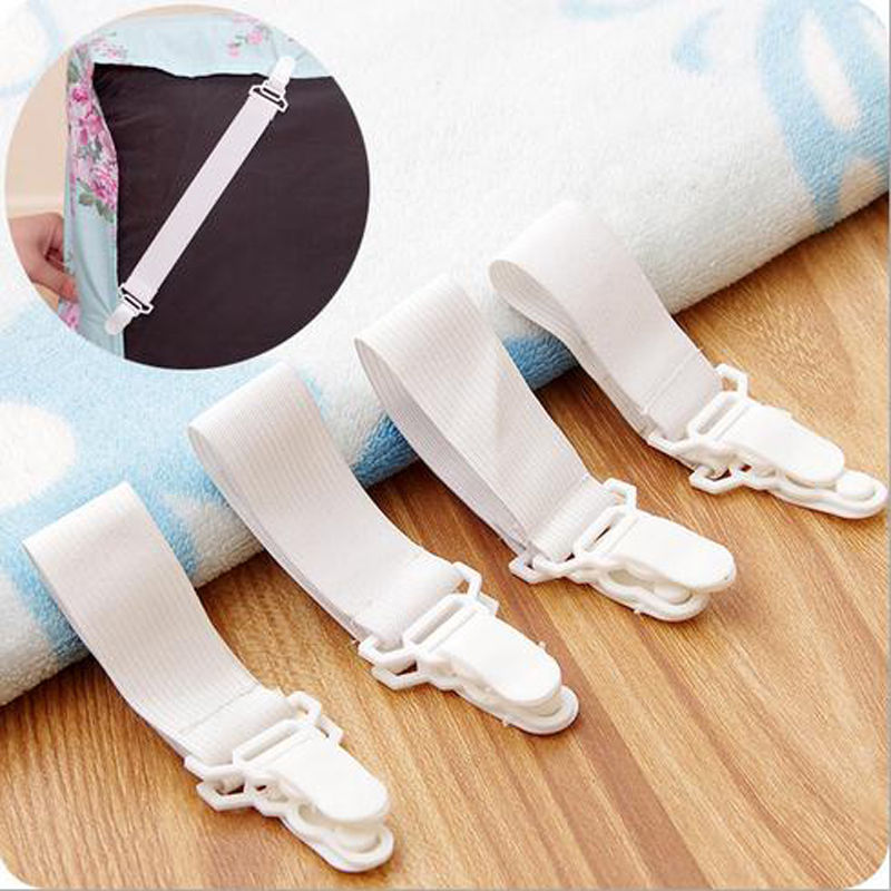 Popular 4 Pcs White Grippers Bed Sheet Mattress Cover Blankets Home Clip Holder Fasteners Elastic Straps Fixing Slip Resistant       - title=