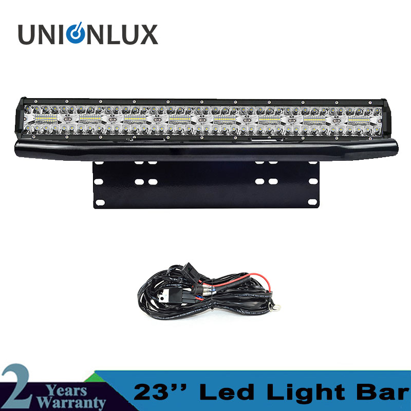 8D Triple Row Offroad LED Light Bar 23 480W Combo Beam + Bull Bar License Plate Bracket For 4x4 4WD Trucks Car +Wire Kit