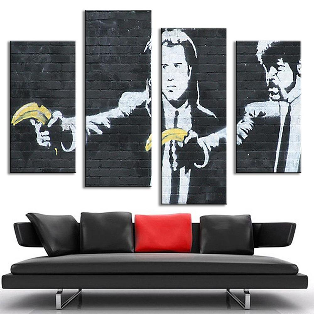 popular banksy pulp fiction buy cheap banksy pulp fiction lots 4 pcs set banksy art pulp fiction abstract art modern oil painting vintage wall pictures