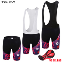 TELEYI 2017 Women Cycling Bib Shorts 5D GEL Coolmax Anti Sweat Downhill MTB Cycling Bib Tights