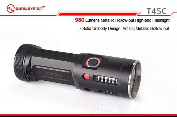Free Shipping SUNWAYMAN T45C Flashlight CREE XM-L2 LED 980 Lumens Metallic Hollow-out High-end Torch nitecore srt6 930 lumens cree xm l xm l2 t6 tactical led flashlight black free shipping