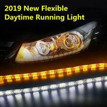 OKEEN 2019 Yeni Araba LED Gündüz Koşu Işık Esnek DRL Beyaz Amber Sinyal Switchback Su Geçirmez Açı Gözler için Far
