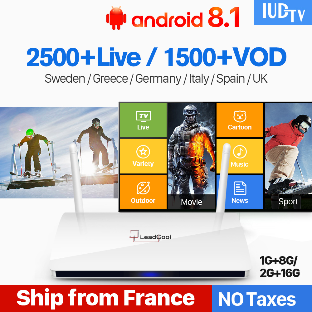IPTV Europe TV Receiver Android 8 1 Rk3229 Quad Core TV Box Leadcool IPTV Greek Nordic