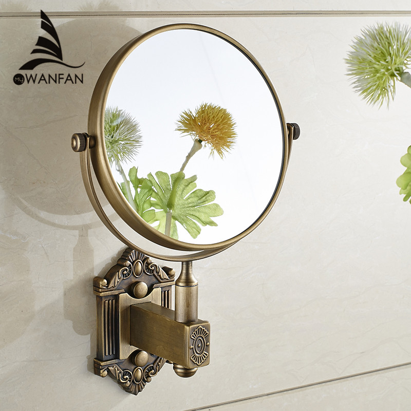 Bath Mirrors Antique Brass 3 X Magnifying Mirror 6 Inch Round Wall Mirror 2 Face Makeup