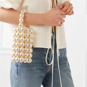 Image 2 - Fashion Pearl Beaded Womens Handbags Luxury Handmade Beaded Crossbody Bags for Women Party Elegant Evening Bags Ladies Purses
