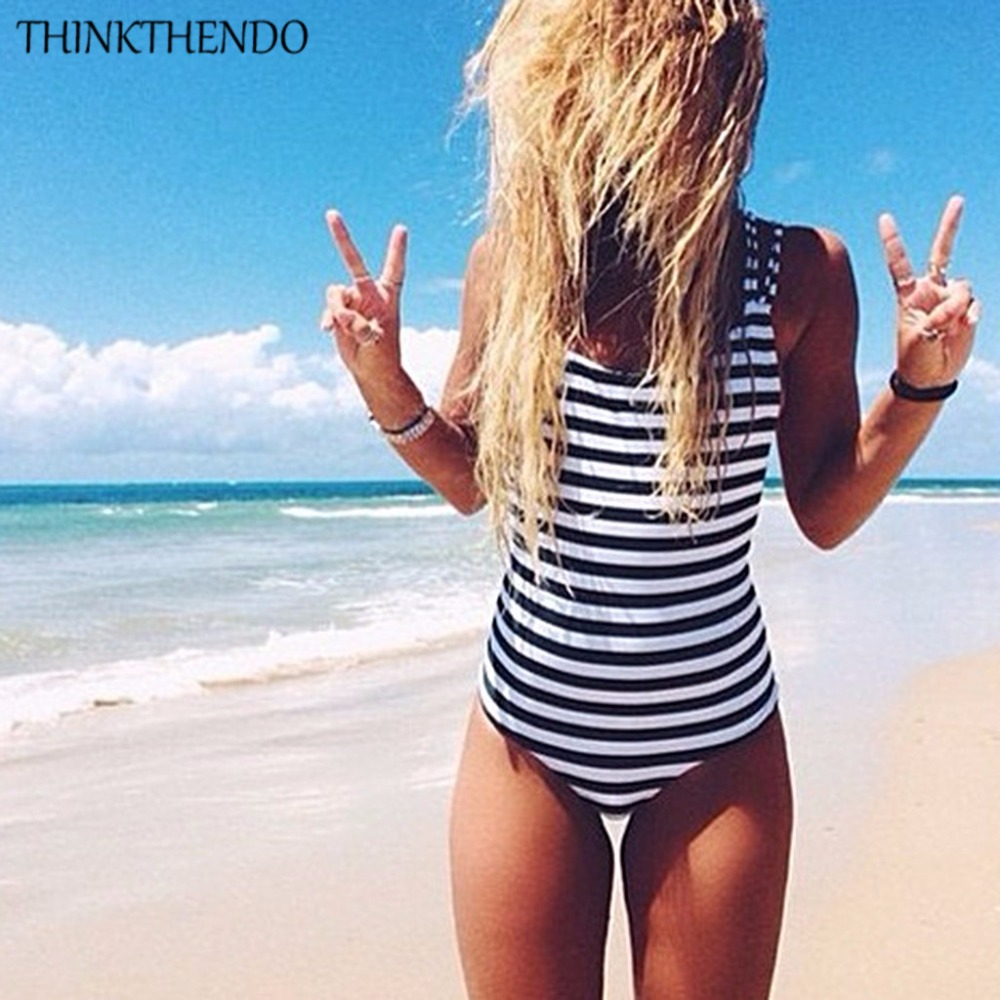 THINKTHENDO 2017 Sexy One Piece Swimsuit Monokini Women Stripe Swimwear Bathing Suit Push Up Padded Bikini