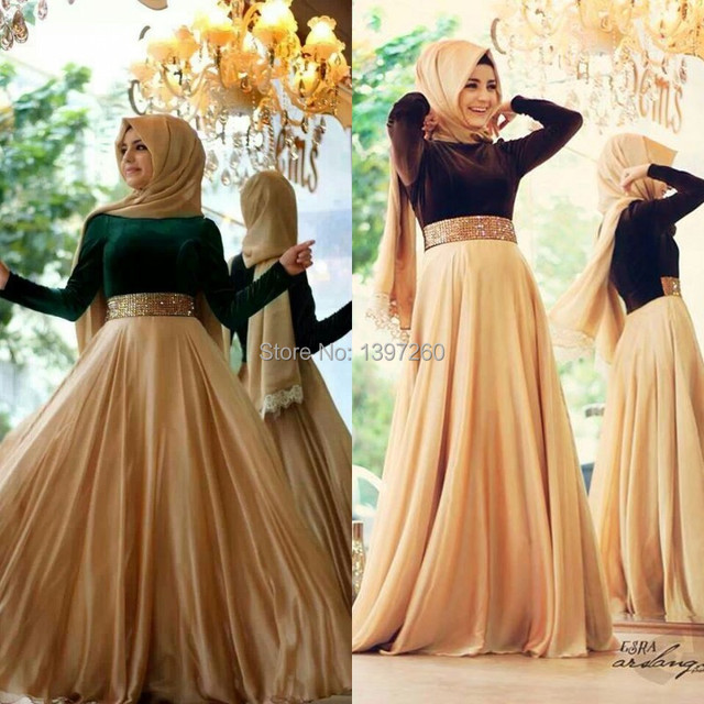 Muslim Dress Long Sleeves Evening Dresses High Neck 2016 Fashion A ...