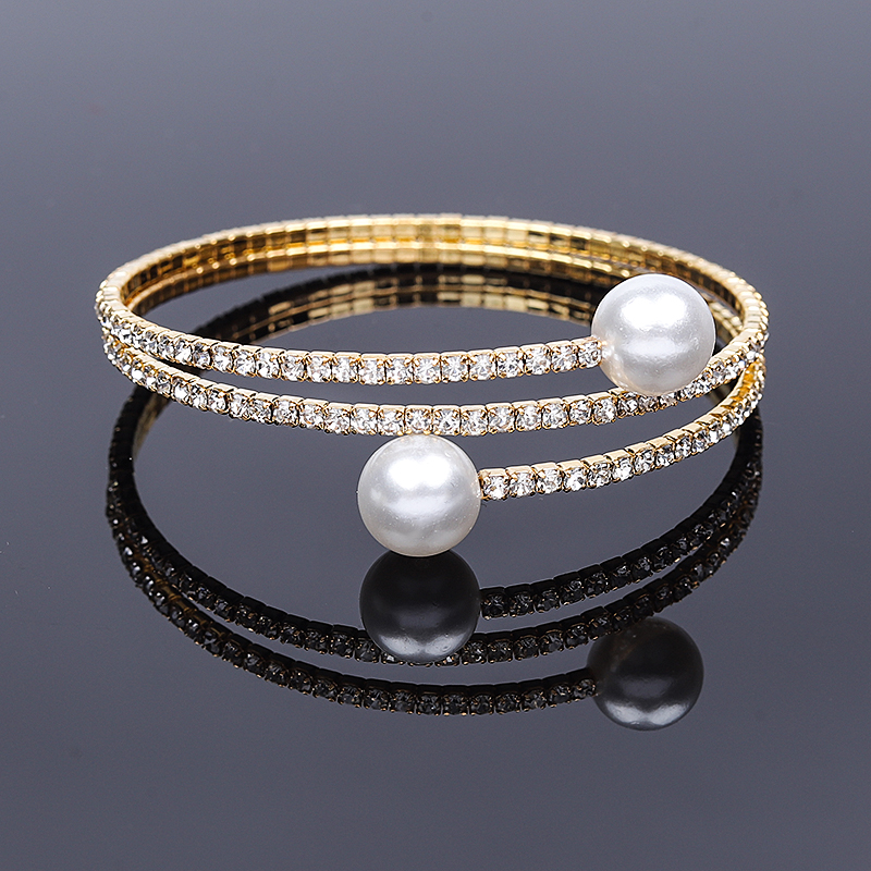 New Arrival Multilayer Crystal Pearl Open Bracelet For Women Girls Adjustable Gold Color Bangle Wedding Jewelry Accessories