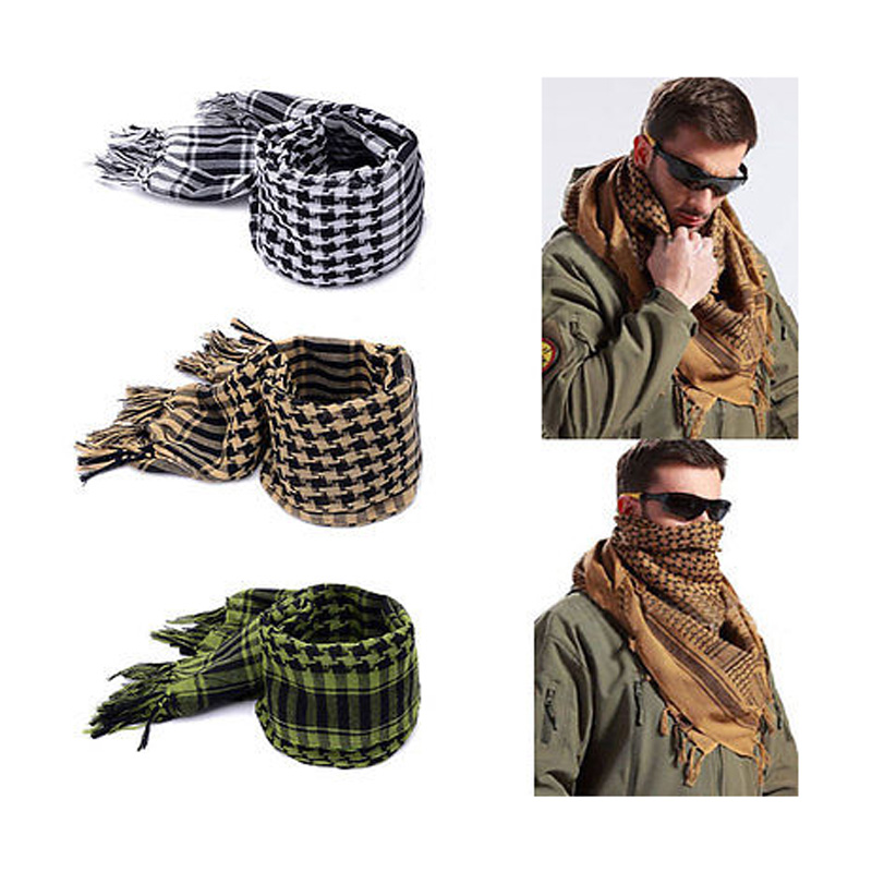 Outdoor Square Scarf Arab Scarves Men Winter Military Windproof Scarf Cotton  Muslim Hijab Shemagh Tactical Desert Arabic Scarf