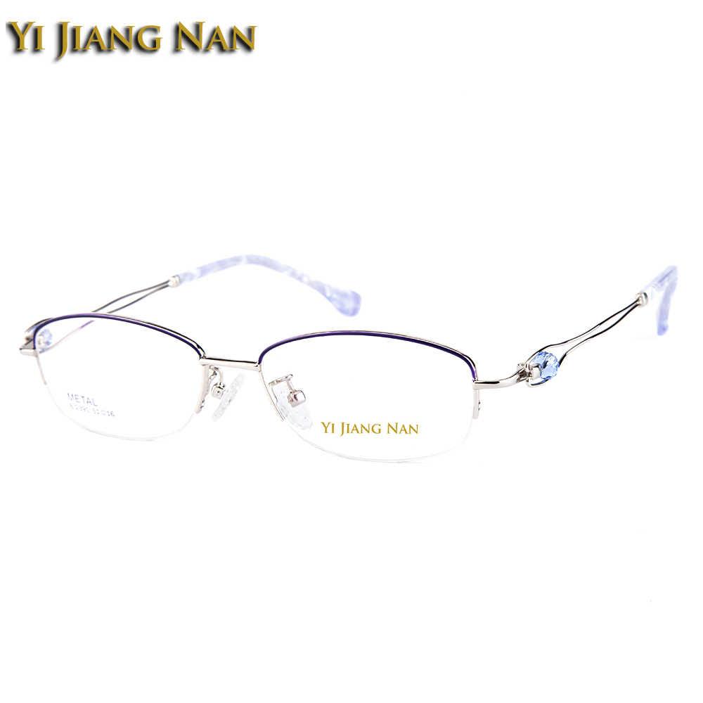 Yi Jiang Nan marca medio marco gafas femeninas de moda semirrimadas hermosos marcos de gafas rosadas con marcos de diamantes de imitación para mujer