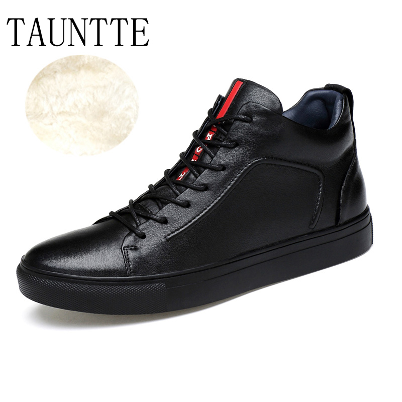 Tauntte High Quality Genuine Leather Casual Shoes Korean Flat High Cut Shoes tauntte 2017 new all match low cut genuine leather shoes men casual work shoes for free shipping