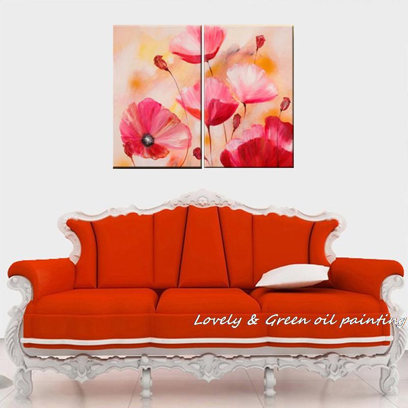 flores pintadas a mano pintura al leo sobre lienzo unids abstracto flor rosa pinturas de