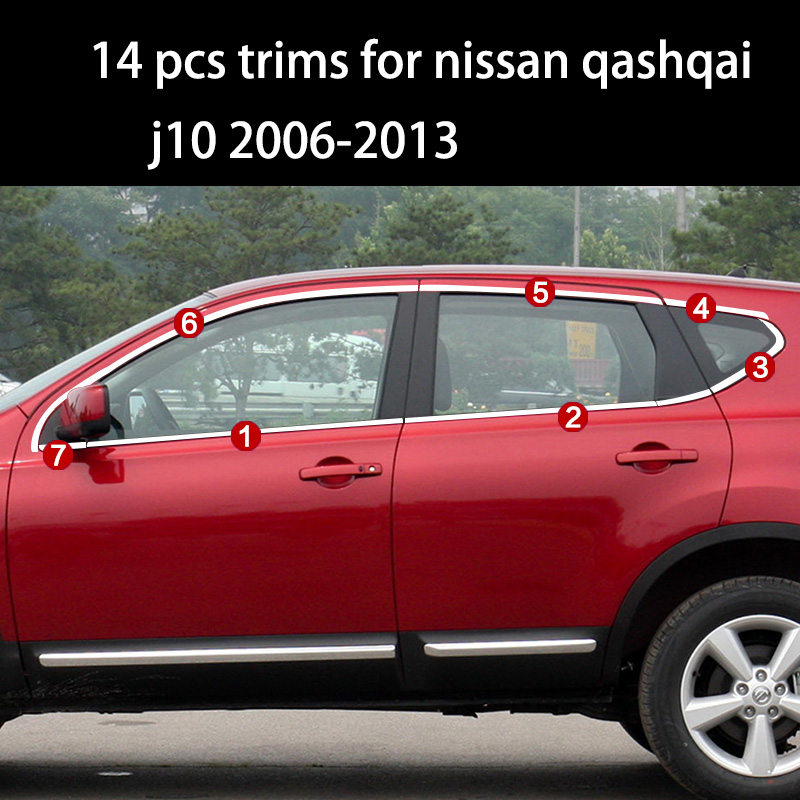 lsrtw2017 304 stainless steel car window trims for nissan qashqai 2007 2008 2009 2010 2011 2012 2013 2014 2015 2016 2017 2018