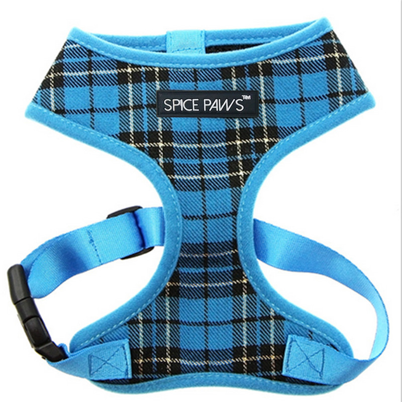 Glorious Kek Dog Harness Vest Plaid Small Pet Dog Harness Justerbar Mesh Foder Nylon Puppy Bröst Strap För Chihuahua Pug XS-XL