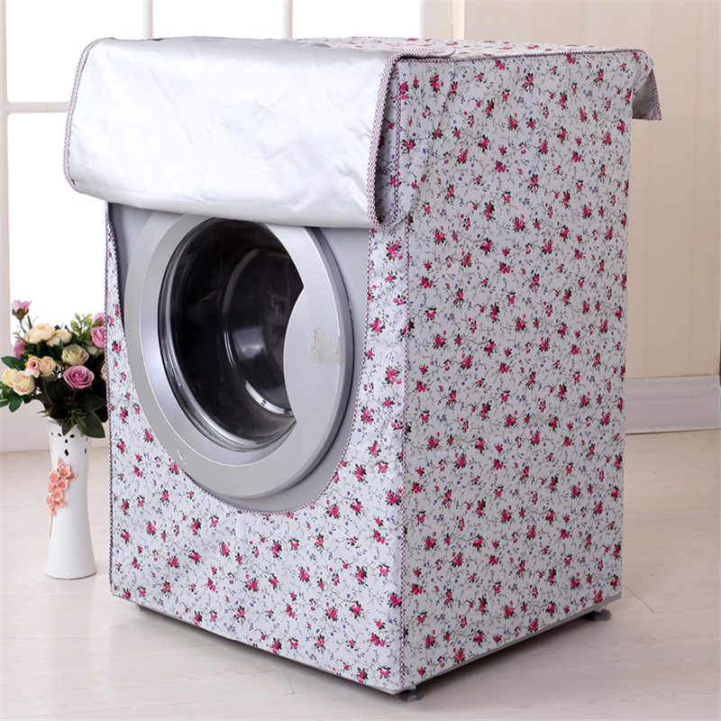 Washing Machine Dust Cover Sunscreen Waterproof Case Home Laundry Dryer Polyester Silver ...