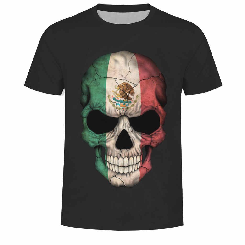 Новое поступление, черная Повседневная мужская футболка с круглым вырезом, модная мужская футболка с 3D принтом черепа, футболка с коротким рукавом, блузка, топы # C