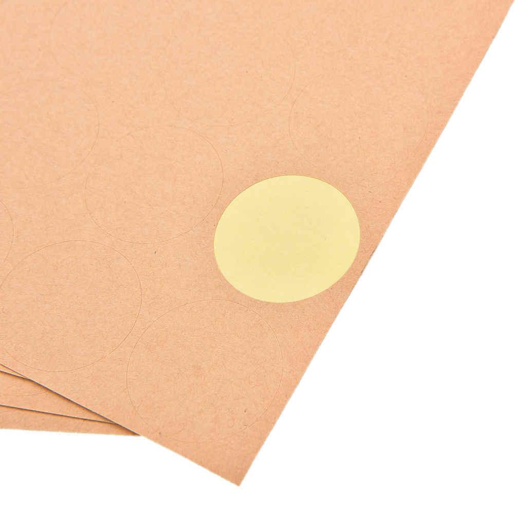 4 vellen 3.5CM Papier Memo Stickers DIY Ronde Vierkante Vorm zelfklevende Stickers Kraft Labels