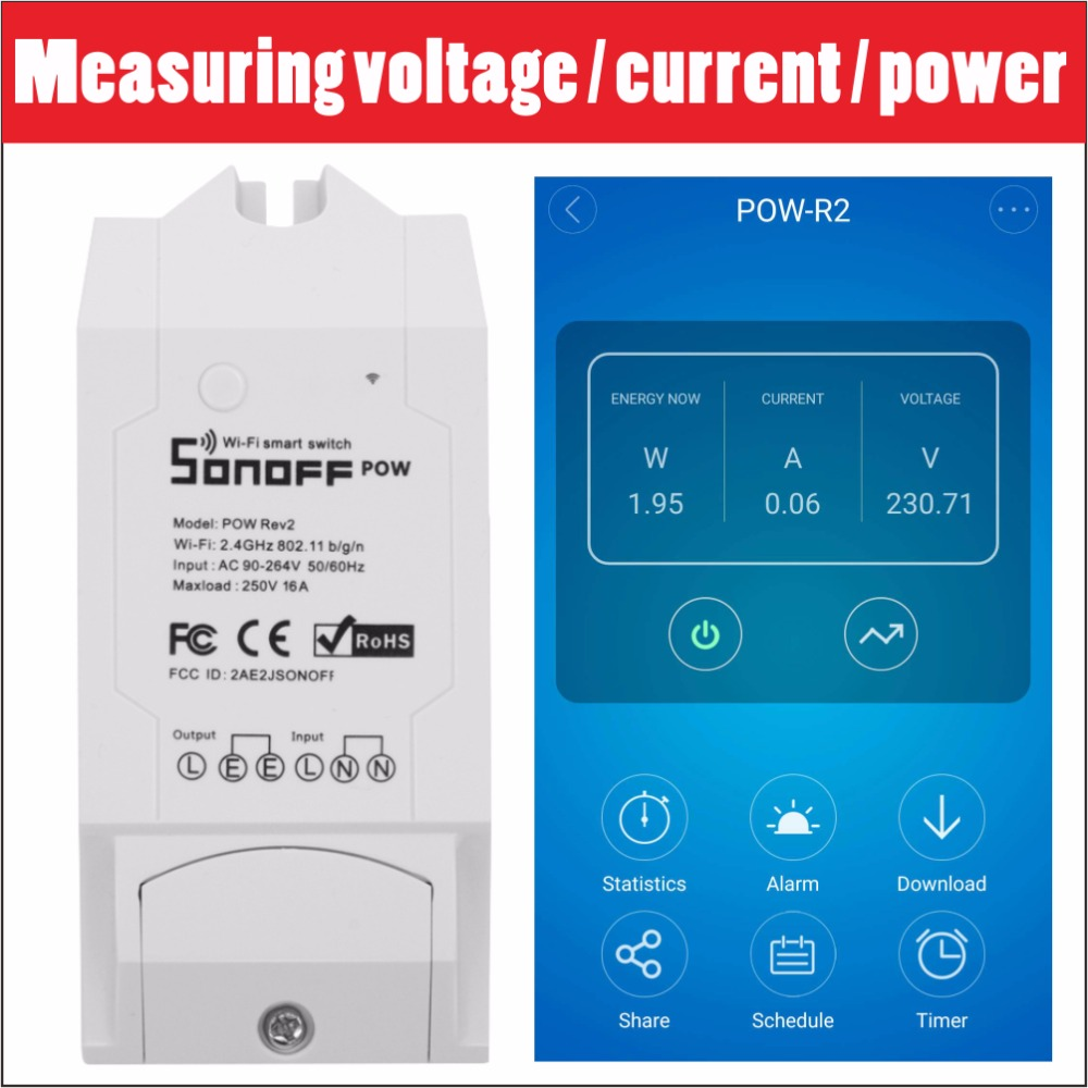 US $13 99 20% OFF|Sonoff Pow R2 16A Wifi Smart Switch Monitor Energy Usage  Smart Home Power Measuring Switches APP Control Works With Alexa 3500W -in