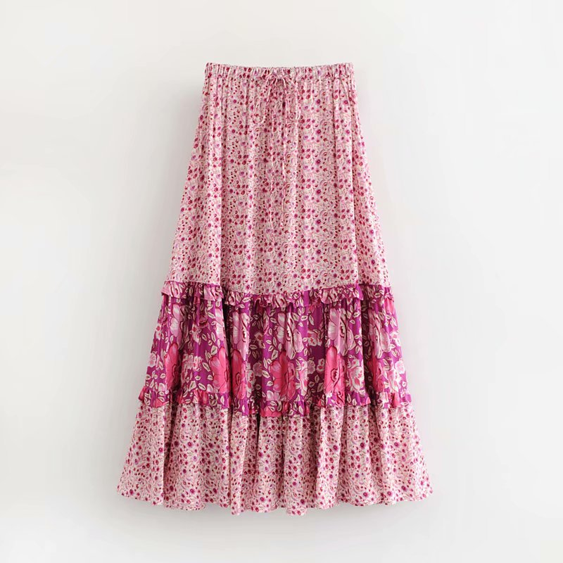 LJ50 leaves printed skirts - 8374 European and American fashion