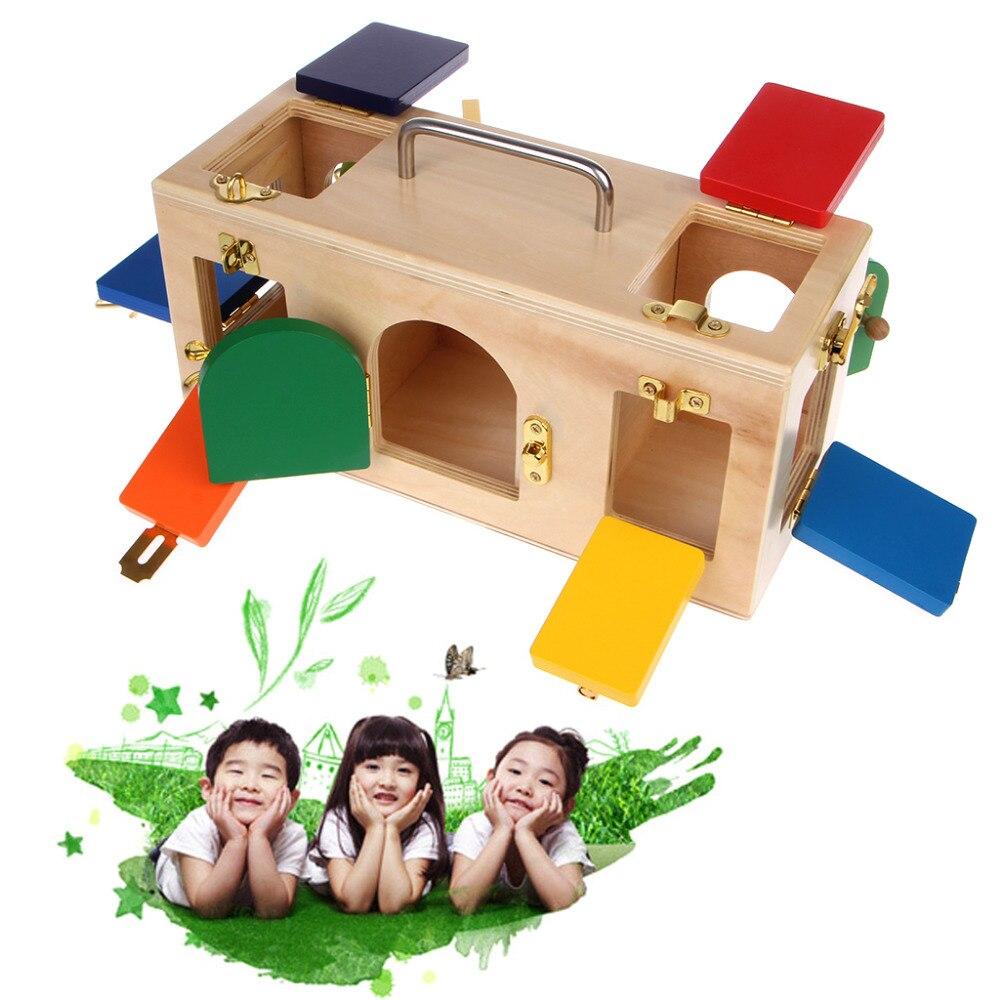 Divertido Montessori caja de bloqueo colorida niños educación preescolar entrenamiento juguetes #330