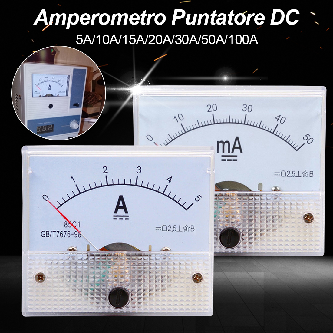<font><b>DC</b></font> Current Meter Analog Panel 5A 10A 20A 30A 50A <font><b>100A</b></font> AMP Gauge Tester Mechanical Ammeters Measuring Tools image
