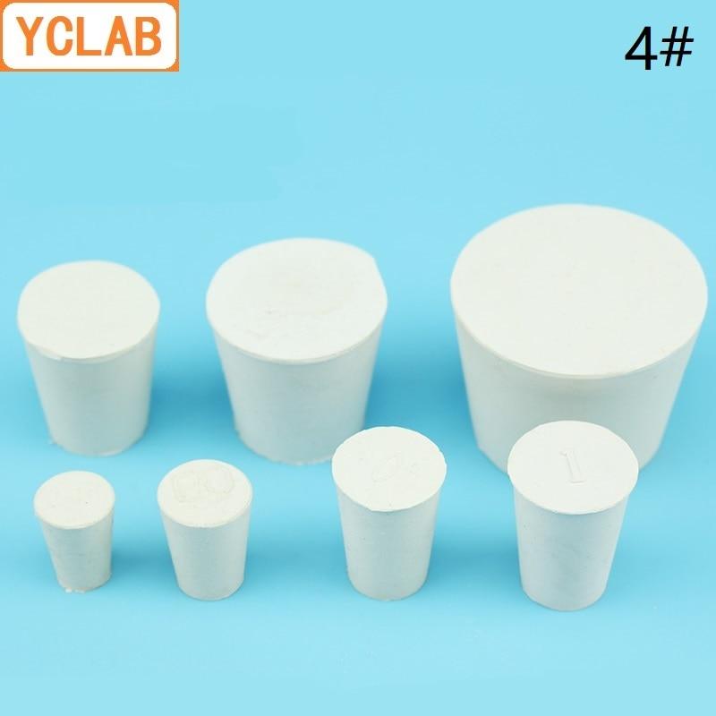 YCLAB 4# Rubber Stopper White For Glass Flask Upper Diameter 26mm * Lower Diameter 19mm Laboratory Chemistry Equipment