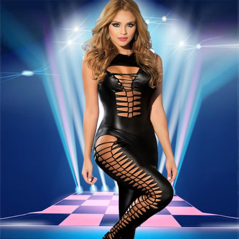 Sexy Womens Black Sleeveless PVC Jumpsuit L55337