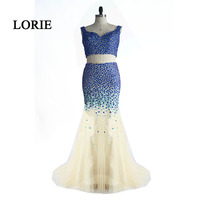 Лори из двух частей платье для выпускного вечера для Выпускной Милая бисером с кристаллами Русалка вечернее платье тюль Vestido Longo; 2017