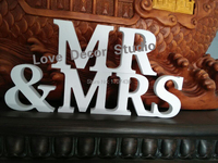 free shipping White MR&MRS Wooden Letter Alphabet MRMRS Wedding Gift Decorative Store Decor Size 8cm high 6pcs