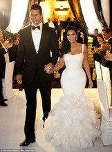 Роскошный белый русалка Kim Kardashian свадебные платья Oganza vestido де noiva курто com ренда спинки свадебные платья