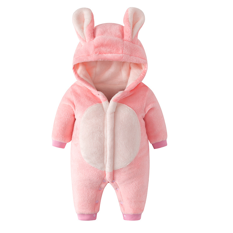 Newborn Baby Thickened Siamese Clothes Plush Warm Cute Little Bunny Pajamas Baby Girl Climbing Siamese Pants Child Clothing Cap