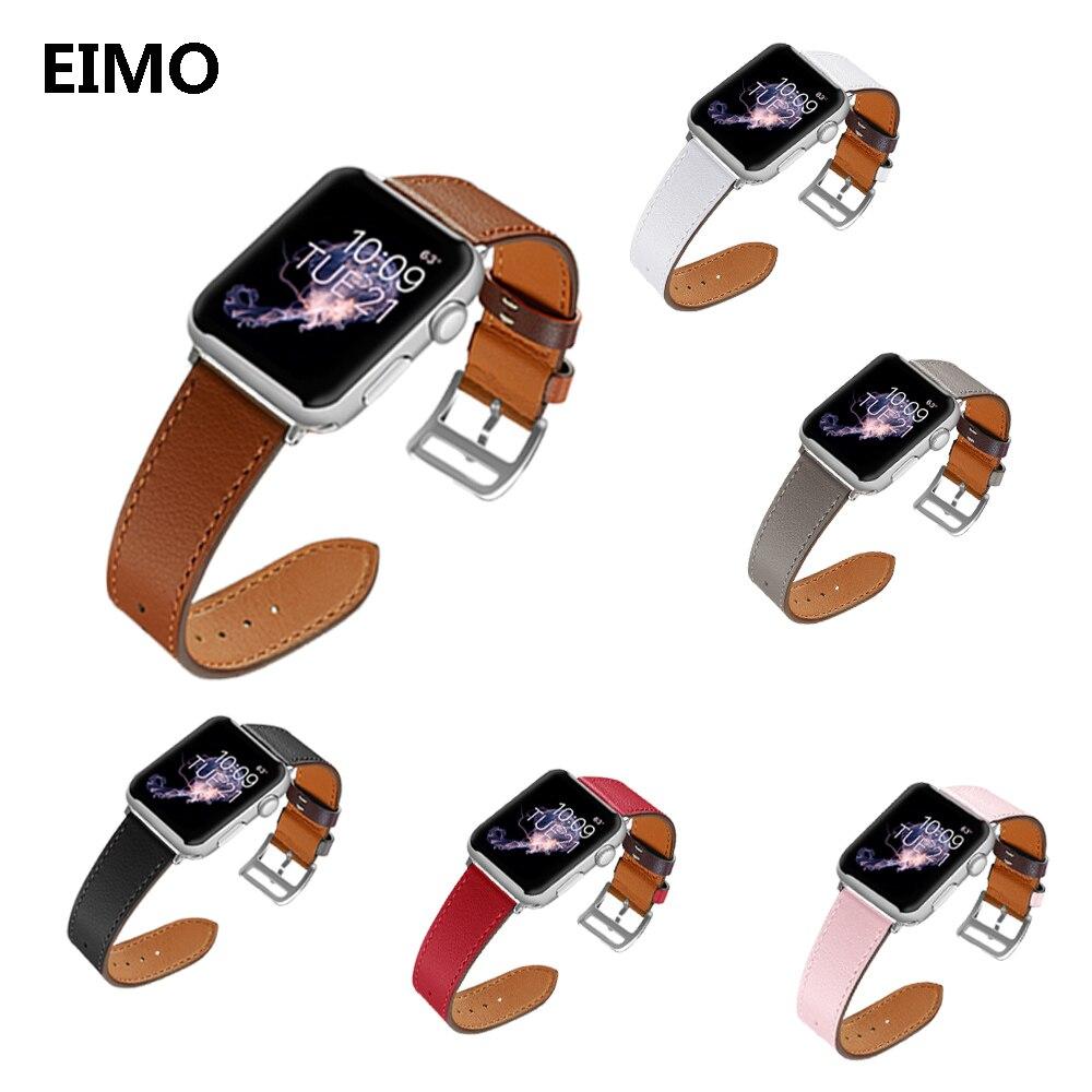 EIMO orologio della cinghia di Cuoio Per Apple Watch Band correa aple 42mm 38mm cinghia da polso braccialetto Cinturini iwatch fasce serie 3 2 1