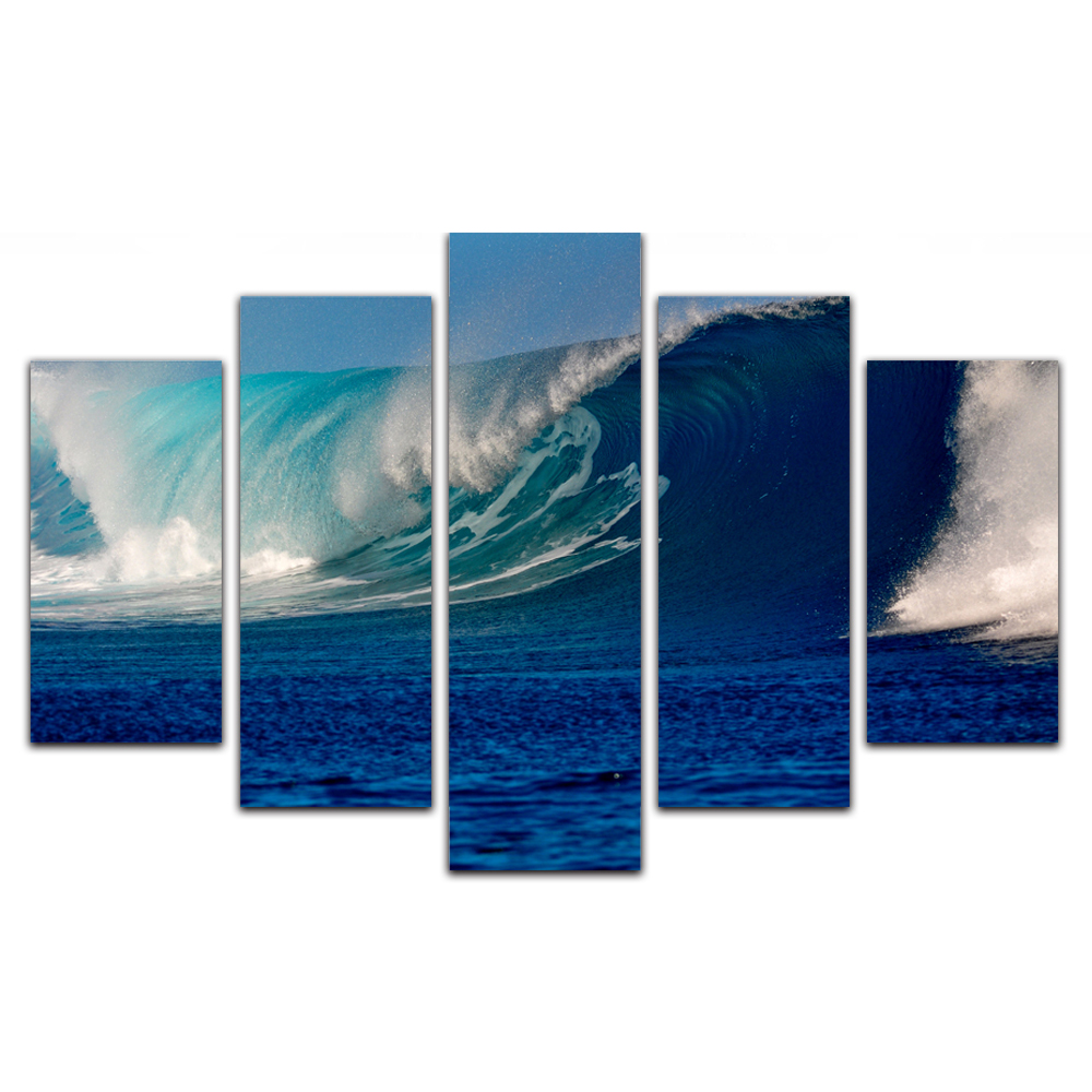 Unframed Canvas Painting Blue Ocean Waves Spray Photo Picture Prints Wall Picture For Living Room Wall Art Decoration
