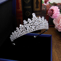 Cubic Zircon Wedding Crown Set Zirconia Tiara CZ Diadema Tiaras And Crowns Bridal Hair Accessories Couronne De Mariage WIGO1327