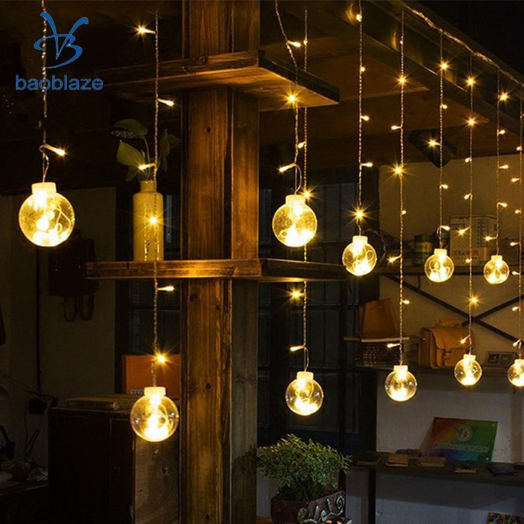 120-led Globe Ball Window Curtain Droop Fairy String Light Christmas Wedding Decorative  ...