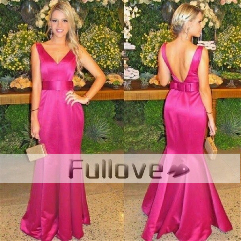 Fashion Pink Mermaid   Prom     Dress   Long 2019 V-Neck Bow Sashes Formal   Prom   Party   Dresses   Gown Abendkleider Kaftan Vestido De Festa