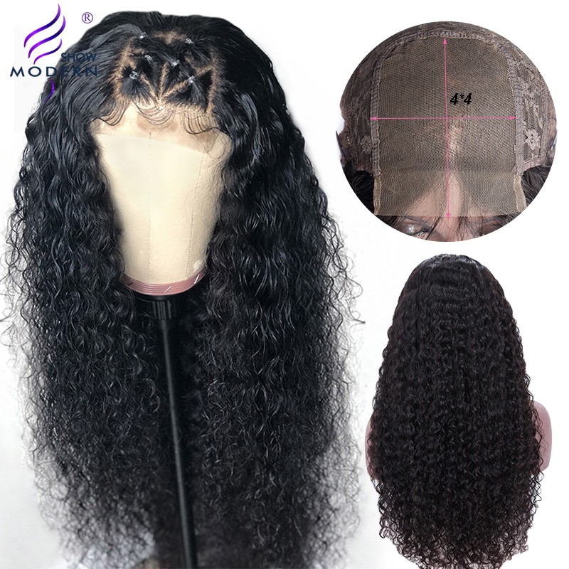 Modern Show 4*4 Lace Closure Wig Brazilian Curly Lace Closure Human Hair Wigs Pre Plucked With Baby Hair Remy Wig 150%Density