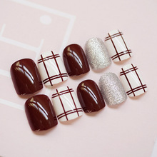 Simple 24PCS/set Coffee double line+silver flash powder design False nails,Short size full nail tips Patch lady art tool bride