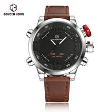 Новейшие Золотой час человек часы высокого класса часы ремни часы Мужчины Dual Time With Alarm Спорт Diver Кварцевые наручные часы