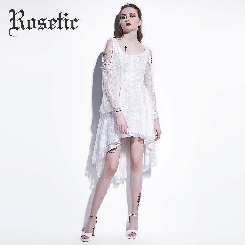 Vestido gótico rosal blanco asimétrico encaje Delgado vestidos mujeres fiesta  verano vestido moda salvaje Preppy calle vampiro gótico vestido 7c86056286a6