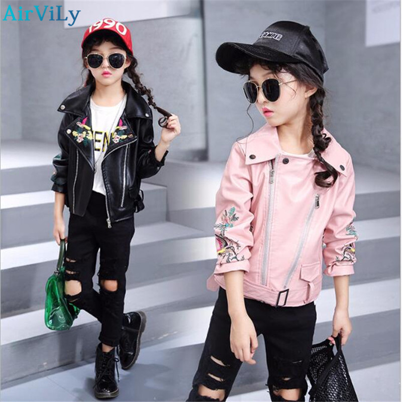 2018 Spring Cool Girls Pu Leather Jacket Embroidery Autumn Chic Children Kids Punk Clothes Coats Big Baby Girls Jackets Outwear