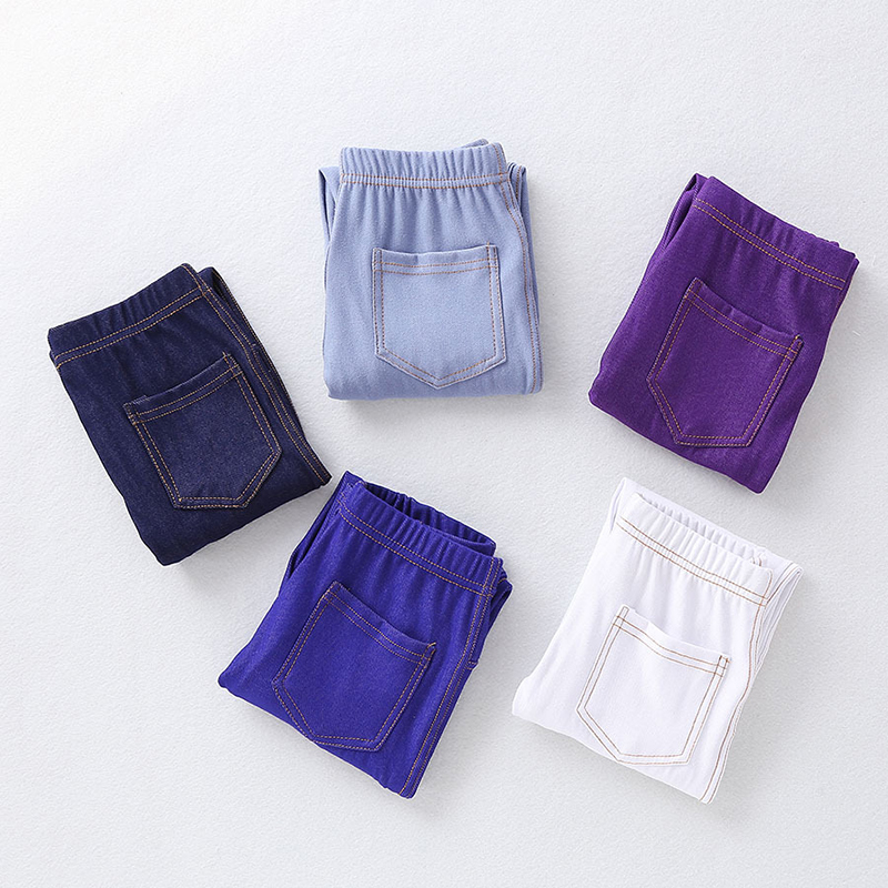 Spring Summer Girls Elastic Skinny Pants Solid Color Kids Stretch Trousers 3-12Yrs Children Lmitation Denim Fabric Jeans Pants 4