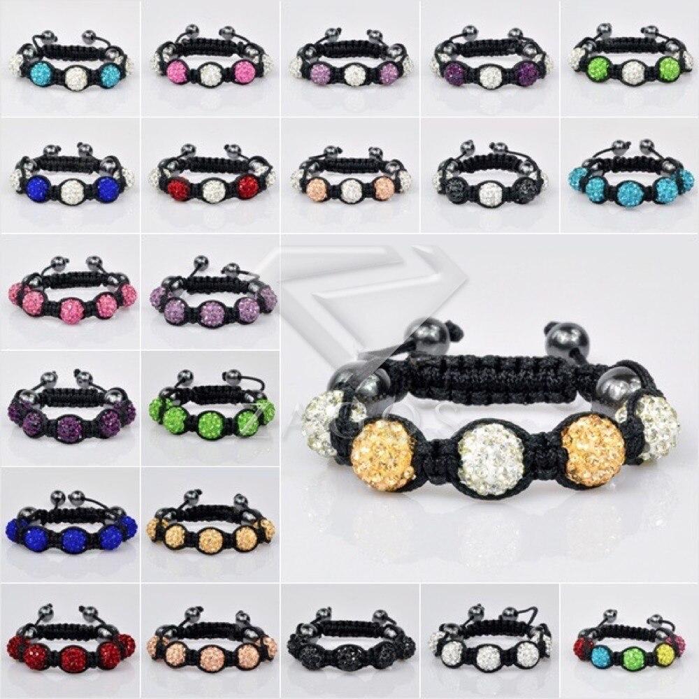 473a2ce1319d44 Mode Assorties Pavent Disco Balls 5 Pcs Enfants Perles Amitié Shamballa Réglable  Bracelet 11 Couleur En Gros SL0006