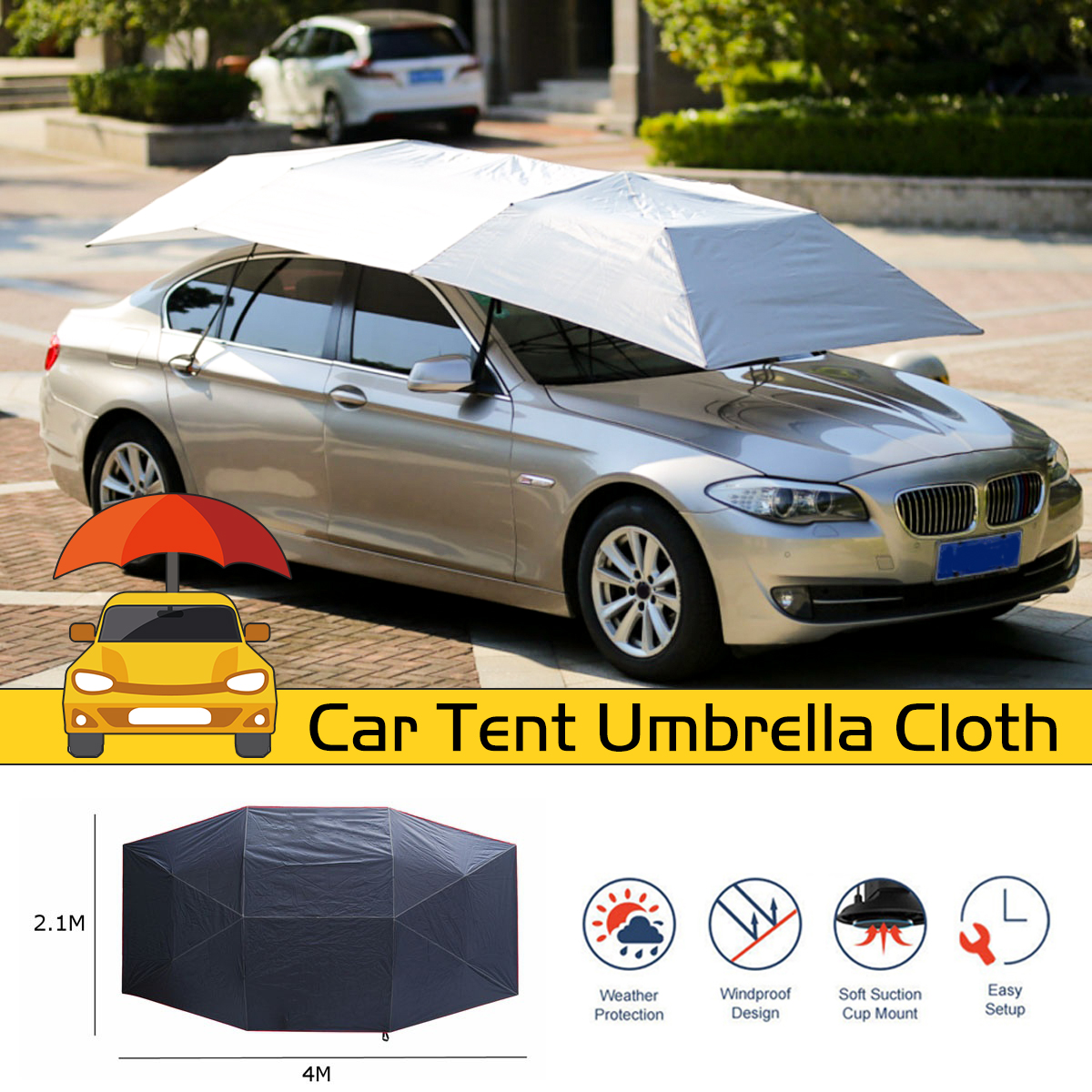 Waterproof Anti UV Full Automatic Outdoor Car Vehicle Tent Umbrella Sunshade Roof Cover Car Umbrella Sun Shade Cloth Replaceable