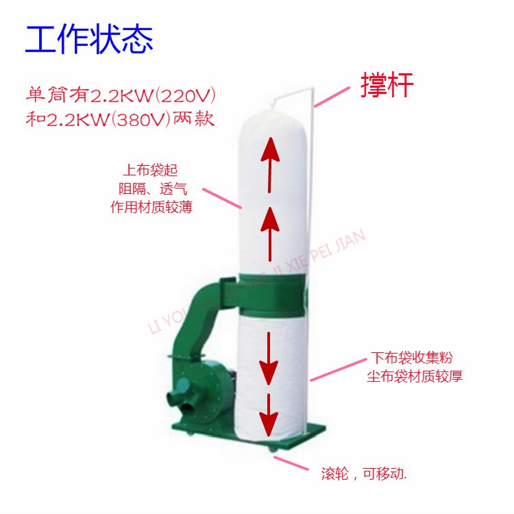 MF9022 single barrel mobile woodworking vacuum cleaner, bag filter, engraving machine dust collector 220V/380V