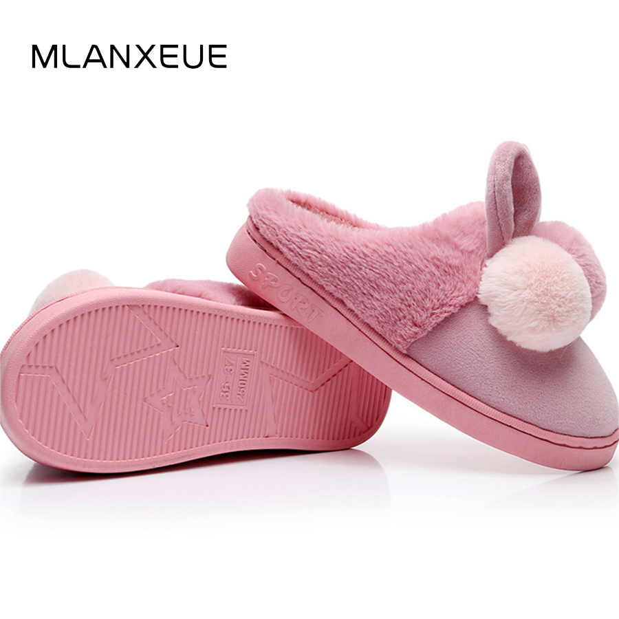 MLANXEUE Rabbit Ears Plush Women Cotton Slippers Sweet Hairball Warm Slippers For Lady Shoes Women Winter Fashion Slip On Shoes цена 2017