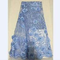 Sky Blue Colors French Net Lace 3D Flowers Tulle Lace Fabric with Beads for Lady Wedding Dressing 30