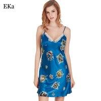 2017 Hot Sprzedam Sexy Hafty Koszula Nocna Mini Snu Jedwabiu Nocna koszule Kobieta See-Through Kobiety Piżamy Night Dress