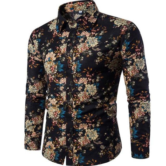 2019 جديد العلامة التجارية الملابس أزياء قميص الذكور الكتان اللباس قمصان سليم صالح بدوره إلى أسفل الرجال ملابس رجالية بكم طويل قميص هاواي صيفي حجم M-5XL